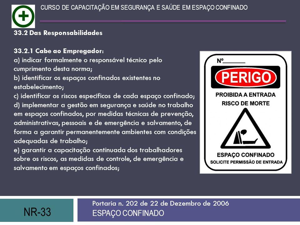 NR-33 ESPAÇO CONFINADO 33.2 Das Responsabilidades