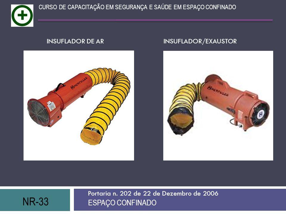 NR-33 ESPAÇO CONFINADO INSUFLADOR DE AR INSUFLADOR/EXAUSTOR