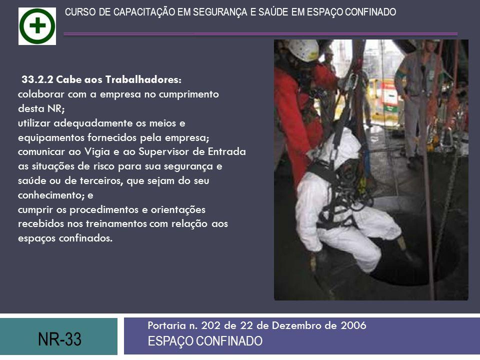 NR-33 ESPAÇO CONFINADO 33.2.2 Cabe aos Trabalhadores:
