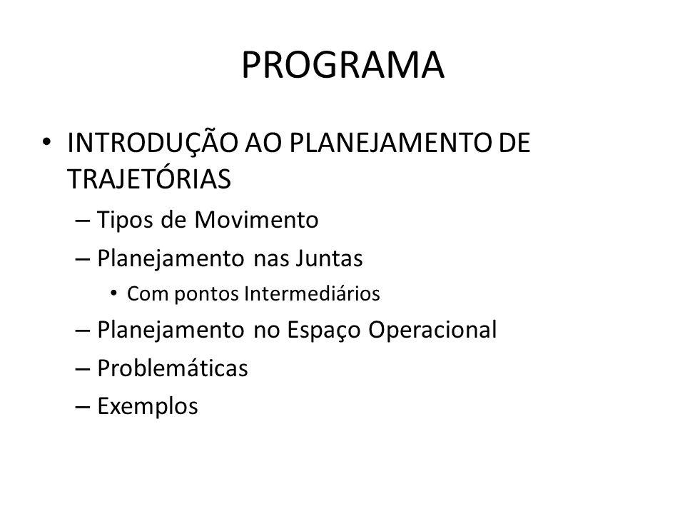 PROGRAMA INTRODUÇÃO AO PLANEJAMENTO DE TRAJETÓRIAS Tipos de Movimento