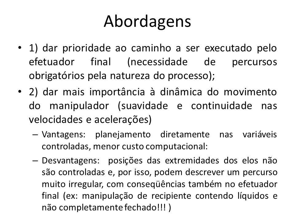 Abordagens 1) dar prioridade ao caminho a ser executado pelo efetuador final (necessidade de percursos obrigatórios pela natureza do processo);