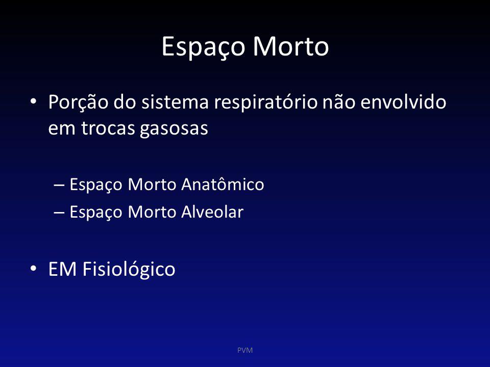 Espaço Morto Porção do sistema respiratório não envolvido em trocas gasosas. Espaço Morto Anatômico.