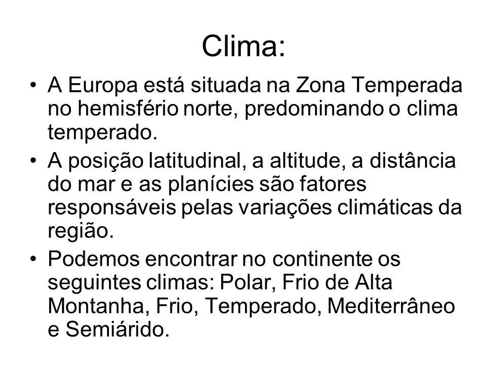 Clima:A Europa está situada na Zona Temperada no hemisfério norte, predominando o clima temperado.
