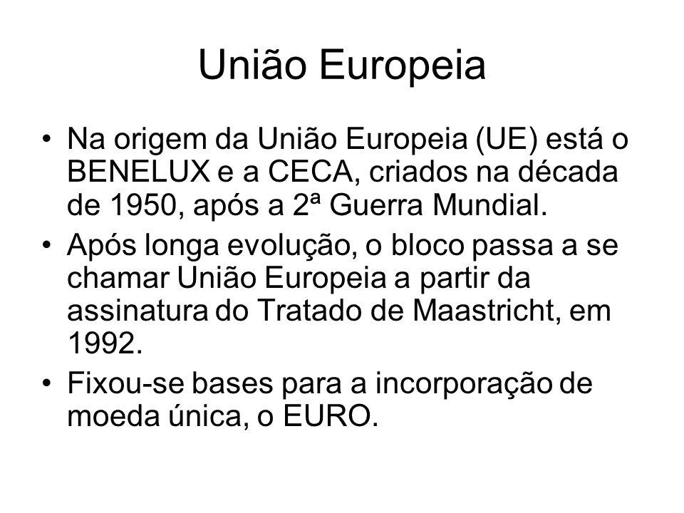 União EuropeiaNa origem da União Europeia (UE) está o BENELUX e a CECA, criados na década de 1950, após a 2ª Guerra Mundial.