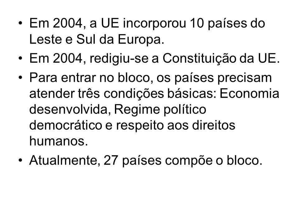 Em 2004, a UE incorporou 10 países do Leste e Sul da Europa.