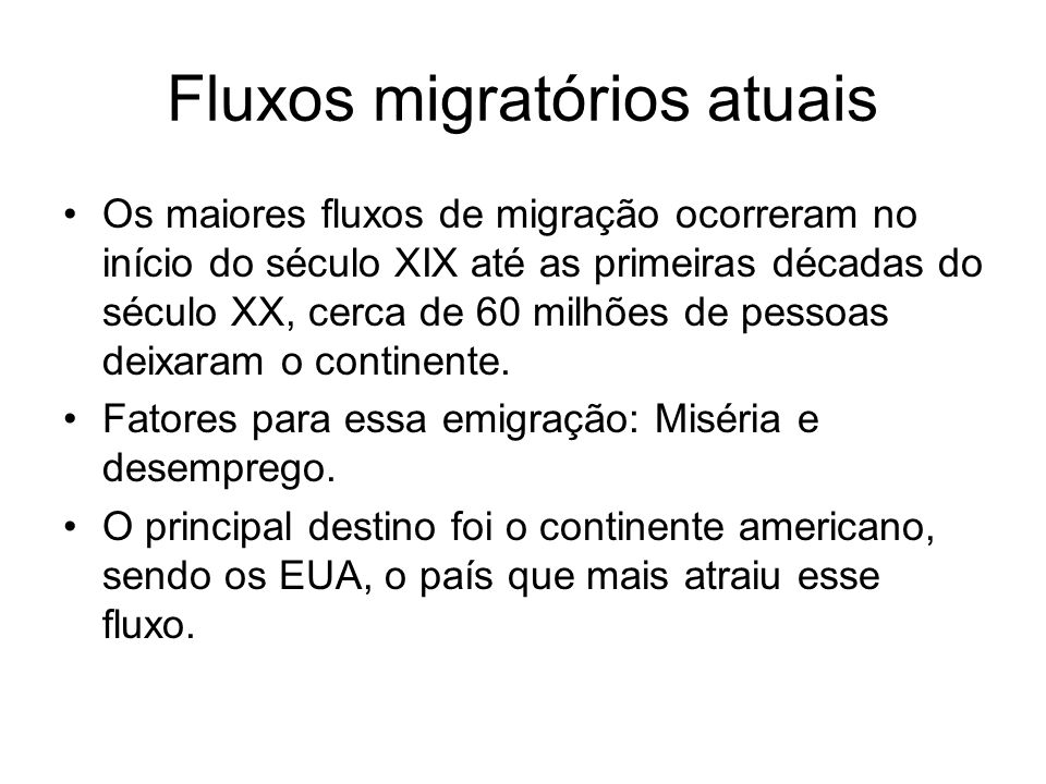 Fluxos migratórios atuais