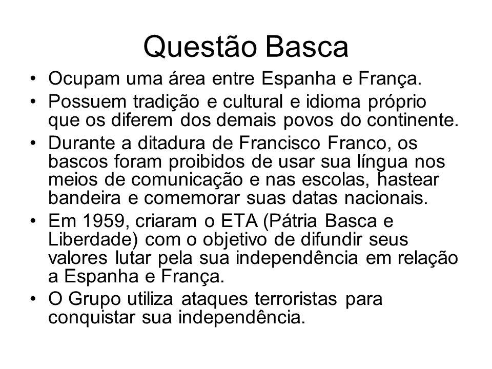Questão Basca Ocupam uma área entre Espanha e França.