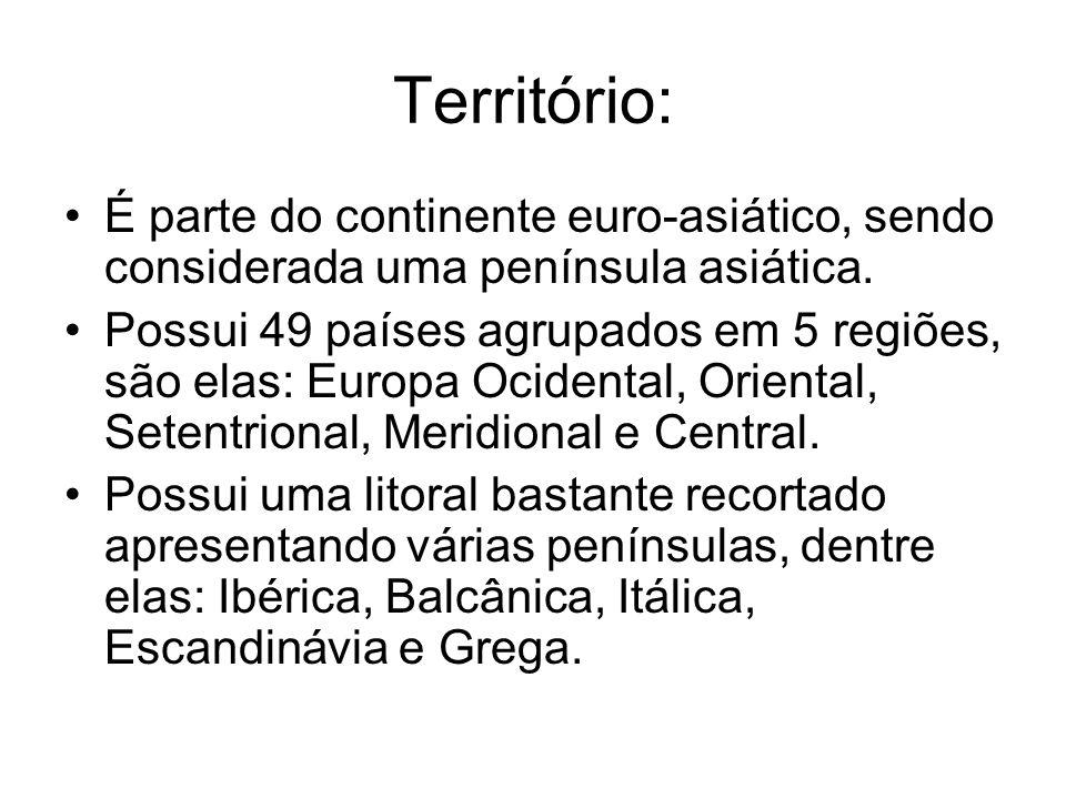 Território: É parte do continente euro-asiático, sendo considerada uma península asiática.