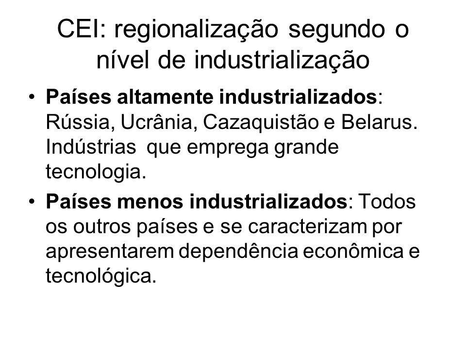 CEI: regionalização segundo o nível de industrialização