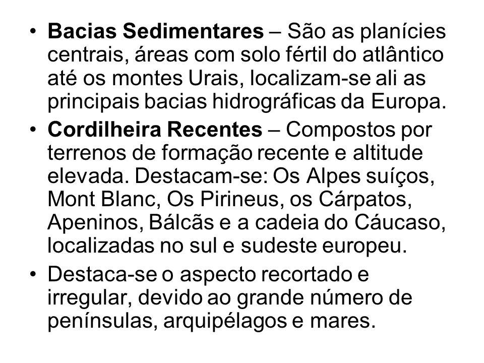 Bacias Sedimentares – São as planícies centrais, áreas com solo fértil do atlântico até os montes Urais, localizam-se ali as principais bacias hidrográficas da Europa.