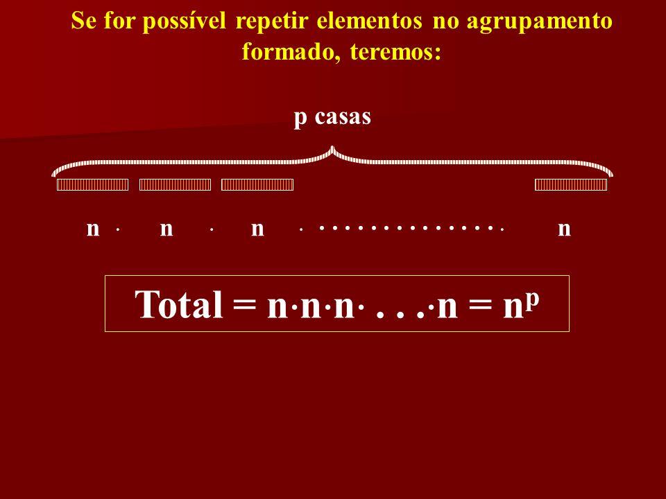 Se for possível repetir elementos no agrupamento formado, teremos: