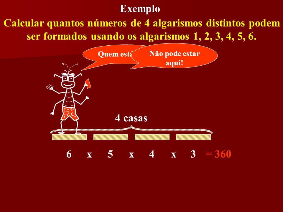 ExemploCalcular quantos números de 4 algarismos distintos podem ser formados usando os algarismos 1, 2, 3, 4, 5, 6.