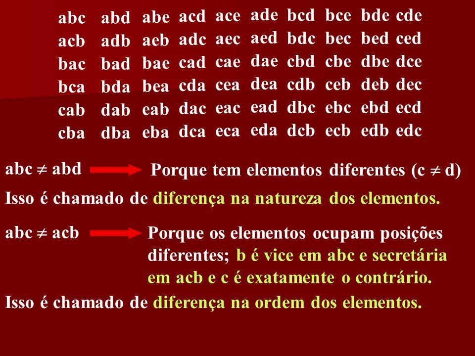 abeacd. ace. ade. abc. abd. bcd. bce. bde. cde. acb. adb. aeb. adc. aec. aed. bdc. bec. bed. ced. bae.