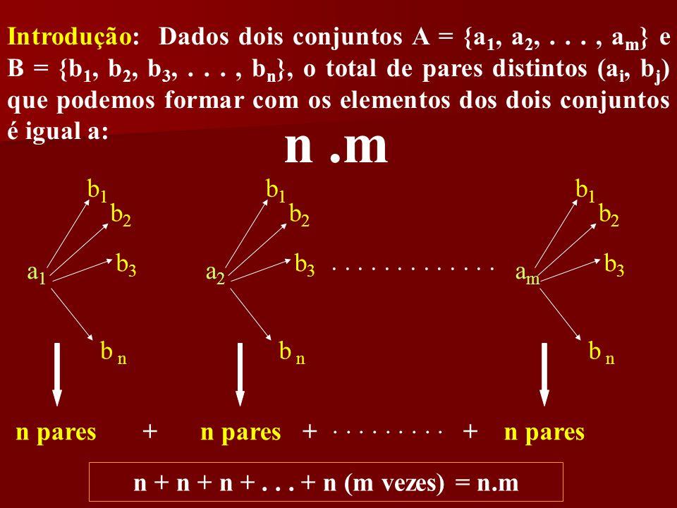 Introdução: Dados dois conjuntos A = {a1, a2, . . . , am} e B = {b1, b2, b3, . . . , bn}, o total de pares distintos (ai, bj) que podemos formar com os elementos dos dois conjuntos é igual a: