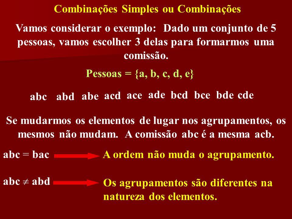 Combinações Simples ou Combinações