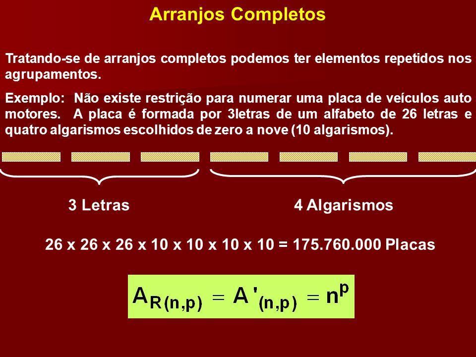 Arranjos Completos 3 Letras 4 Algarismos