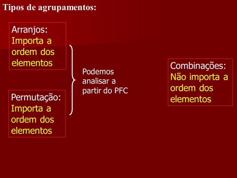 Tipos de agrupamentos: