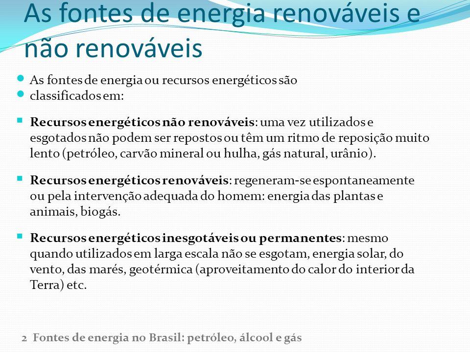 As fontes de energia renováveis e não renováveis