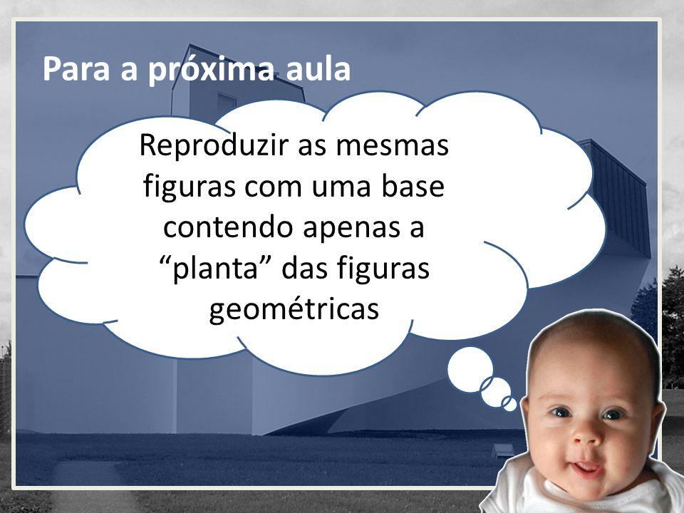 Para a próxima aula Reproduzir as mesmas figuras com uma base contendo apenas a planta das figuras geométricas.