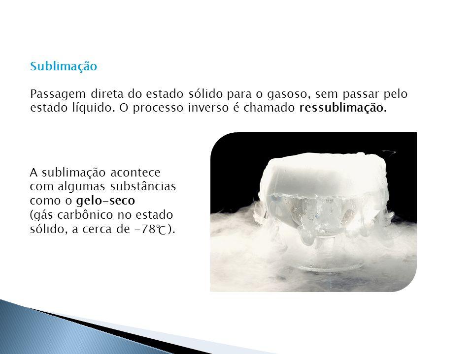 Passagem direta do estado sólido para o gasoso, sem passar pelo estado líquido. O processo inverso é chamado ressublimação.