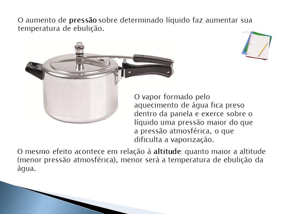 O aumento de pressão sobre determinado líquido faz aumentar sua temperatura de ebulição.