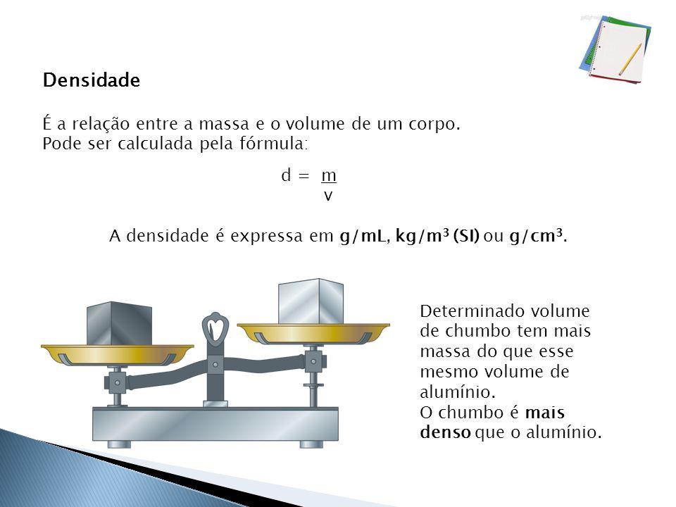 A densidade é expressa em g/mL, kg/m3 (SI) ou g/cm3.