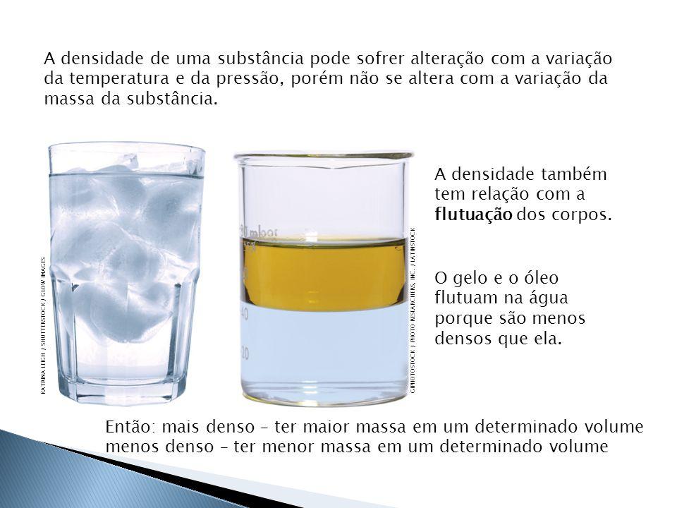 O gelo e o óleo flutuam na água porque são menos densos que ela.