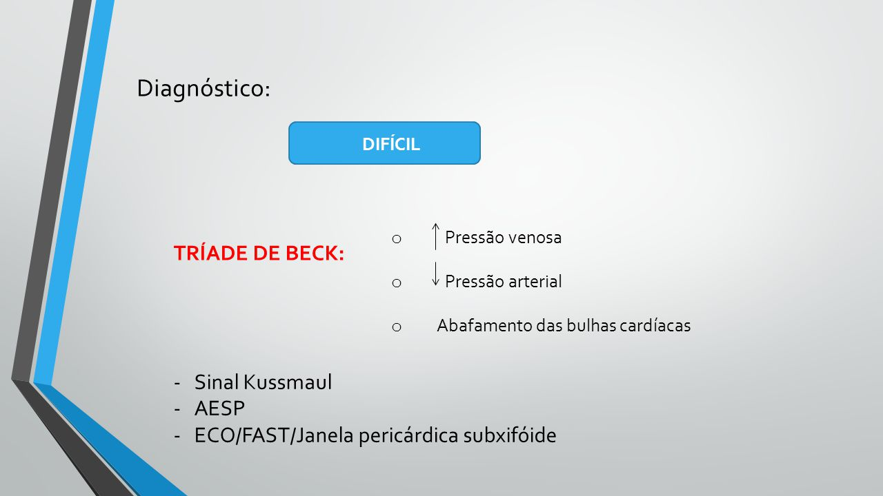 Diagnóstico: TRÍADE DE BECK: Sinal Kussmaul AESP