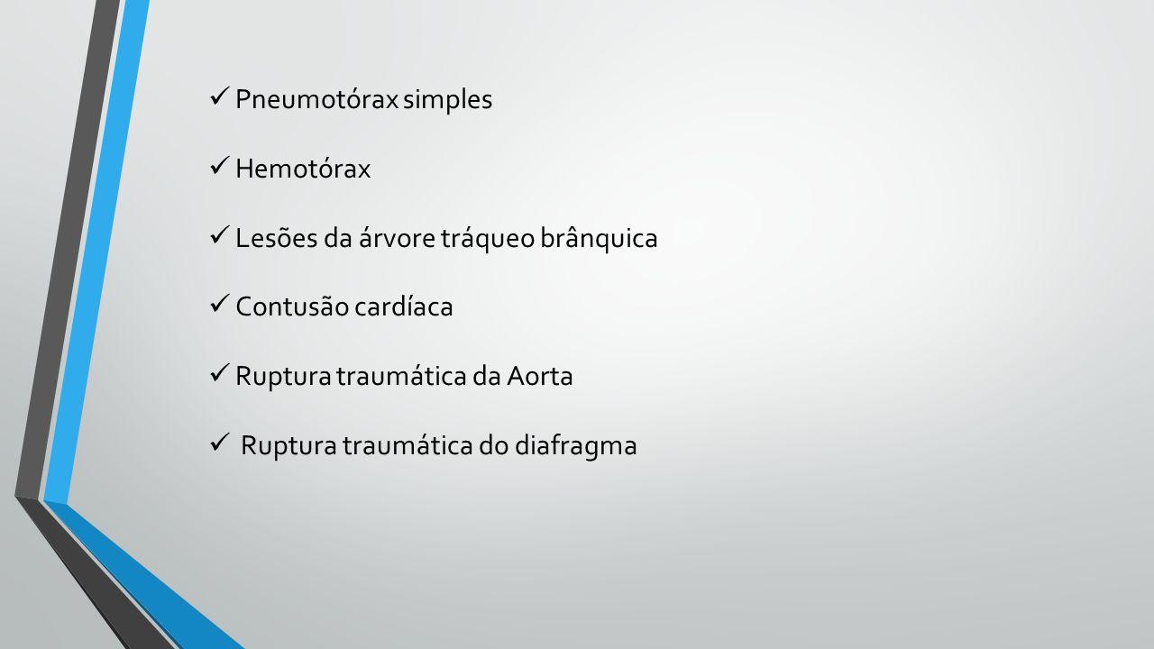 Pneumotórax simples Hemotórax. Lesões da árvore tráqueo brânquica. Contusão cardíaca. Ruptura traumática da Aorta.