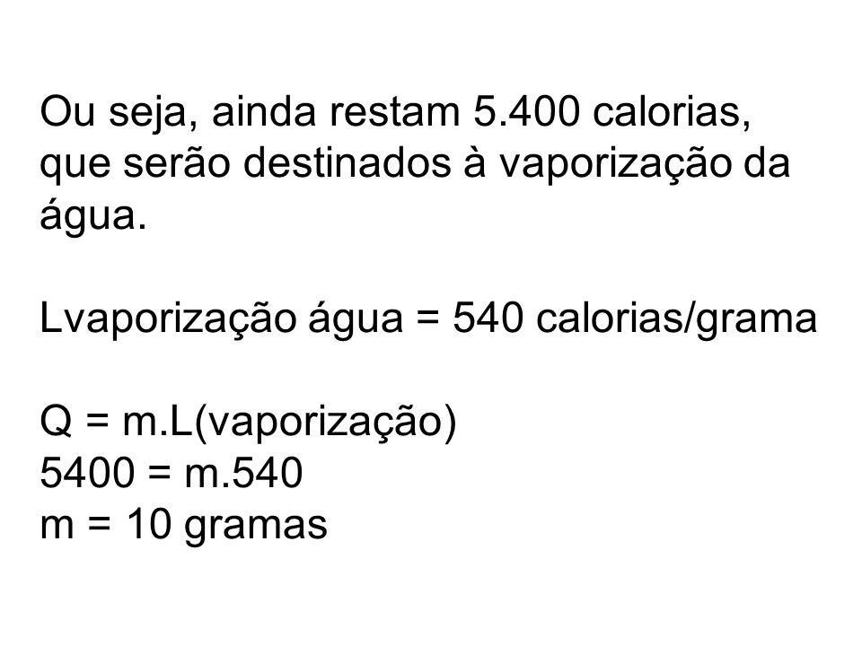 Ou seja, ainda restam 5.400 calorias, que serão destinados à vaporização da água.