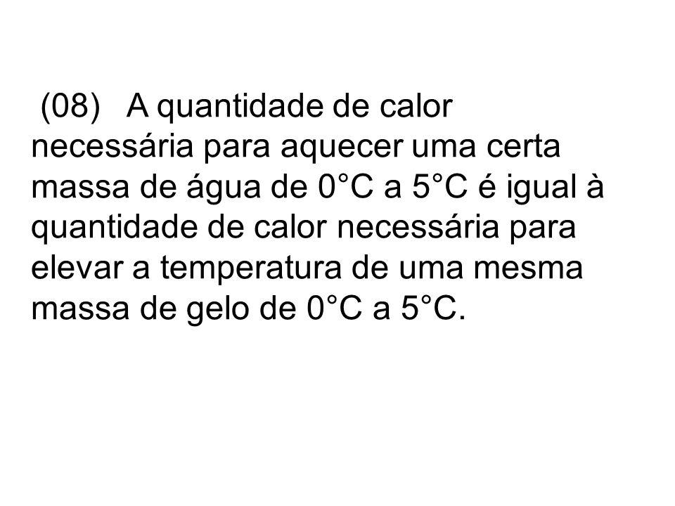 (08) A quantidade de calor necessária para aquecer uma certa massa de água de 0°C a 5°C é igual à quantidade de calor necessária para elevar a temperatura de uma mesma massa de gelo de 0°C a 5°C.