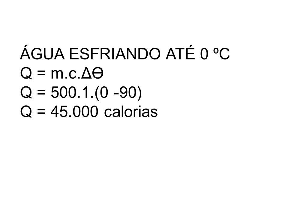 ÁGUA ESFRIANDO ATÉ 0 ºC Q = m.c.ΔӨ Q = 500.1.(0 -90) Q = 45.000 calorias