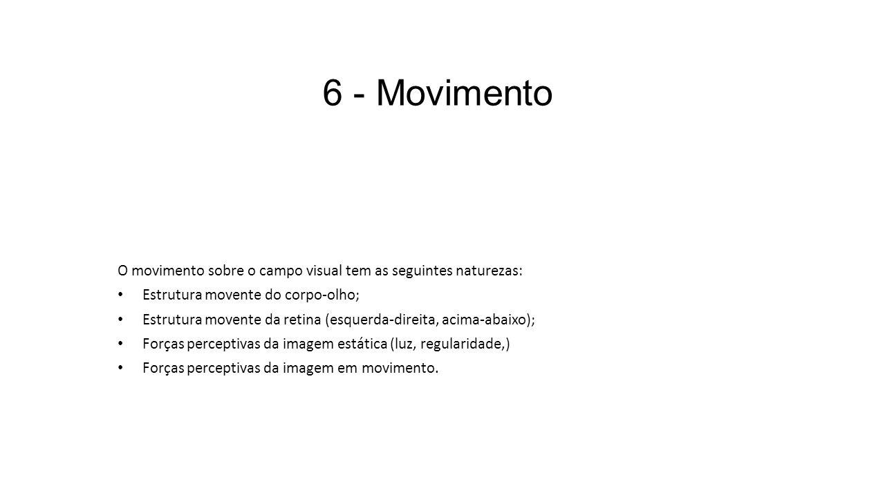 6 - Movimento O movimento sobre o campo visual tem as seguintes naturezas: Estrutura movente do corpo-olho;