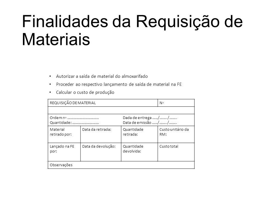 Finalidades da Requisição de Materiais