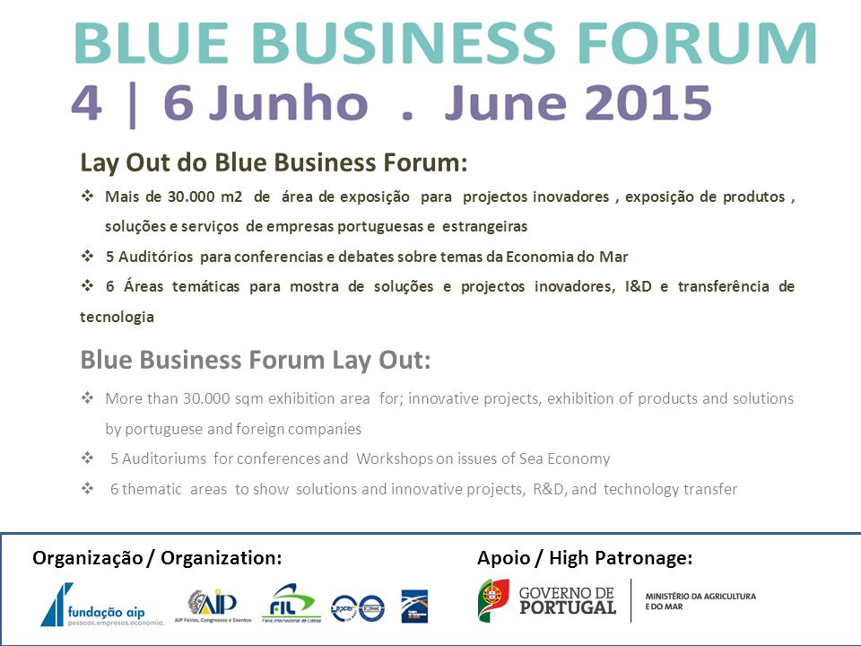 Lay Out do Blue Business Forum: