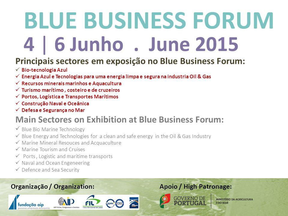 Principais sectores em exposição no Blue Business Forum: