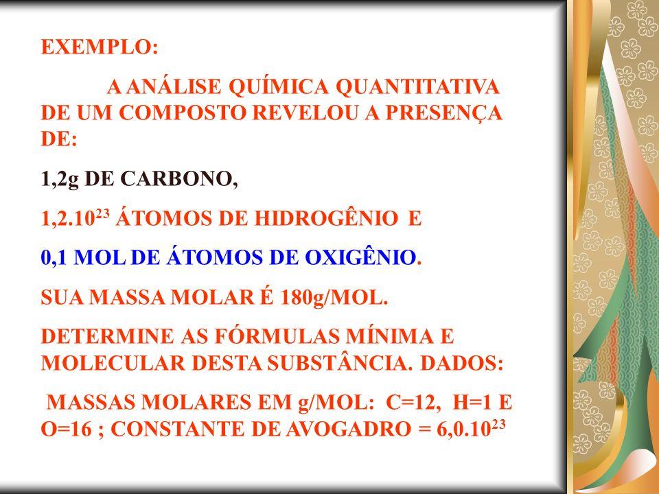 EXEMPLO: A ANÁLISE QUÍMICA QUANTITATIVA DE UM COMPOSTO REVELOU A PRESENÇA DE: 1,2g DE CARBONO, 1,2.1023 ÁTOMOS DE HIDROGÊNIO E.