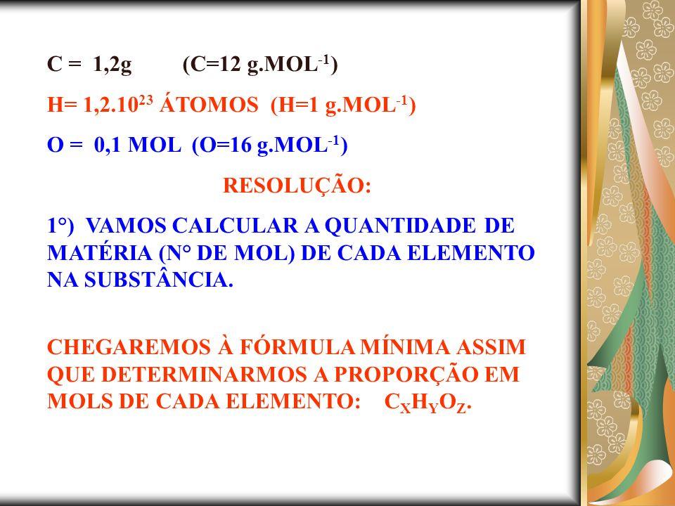 C = 1,2g (C=12 g.MOL-1) H= 1,2.1023 ÁTOMOS (H=1 g.MOL-1) O = 0,1 MOL (O=16 g.MOL-1) RESOLUÇÃO: