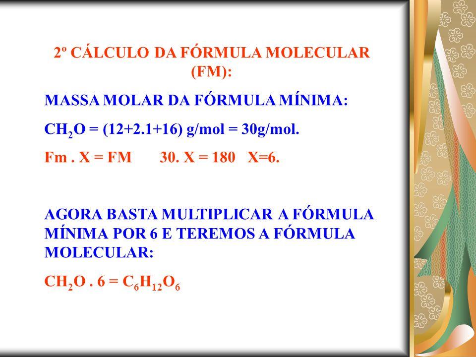 2º CÁLCULO DA FÓRMULA MOLECULAR (FM):