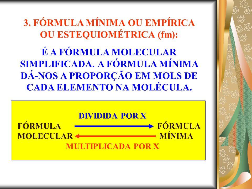 3. FÓRMULA MÍNIMA OU EMPÍRICA OU ESTEQUIOMÉTRICA (fm):