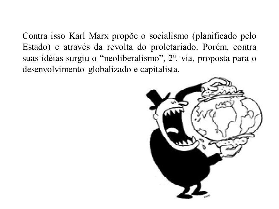 Contra isso Karl Marx propõe o socialismo (planificado pelo Estado) e através da revolta do proletariado.