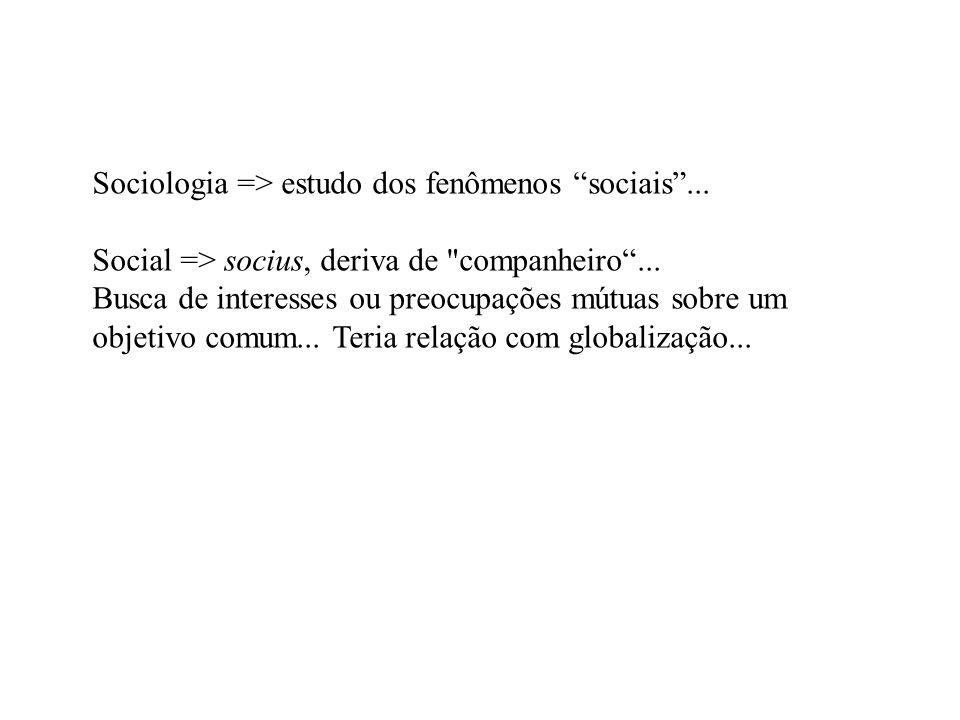 Sociologia => estudo dos fenômenos sociais ...
