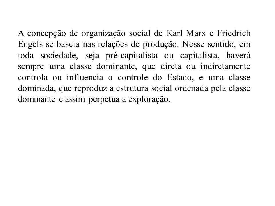 A concepção de organização social de Karl Marx e Friedrich Engels se baseia nas relações de produção.