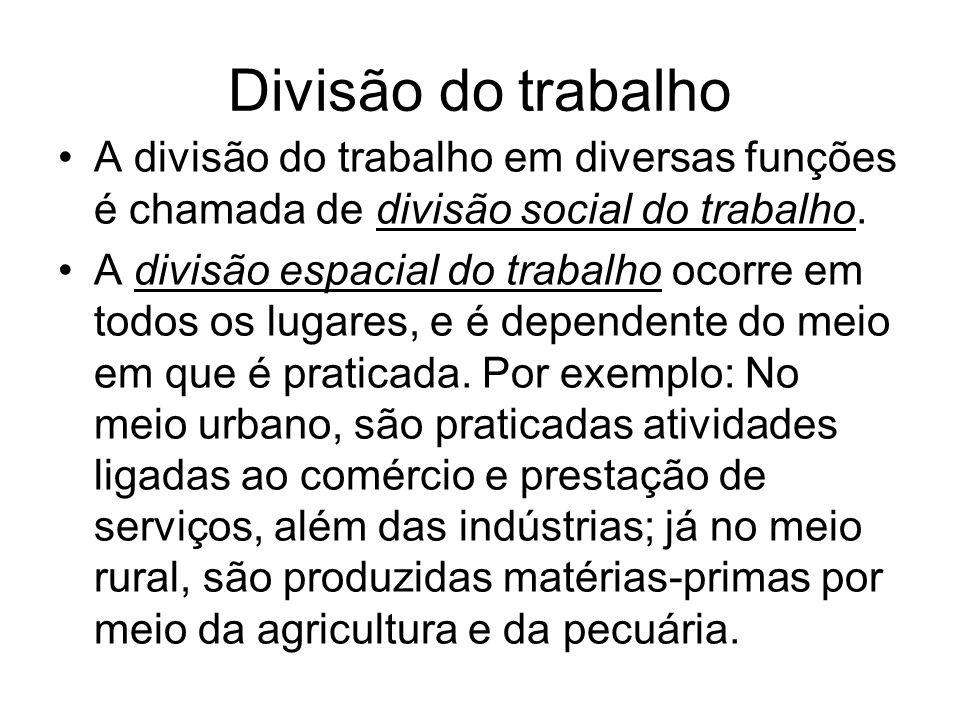Divisão do trabalhoA divisão do trabalho em diversas funções é chamada de divisão social do trabalho.