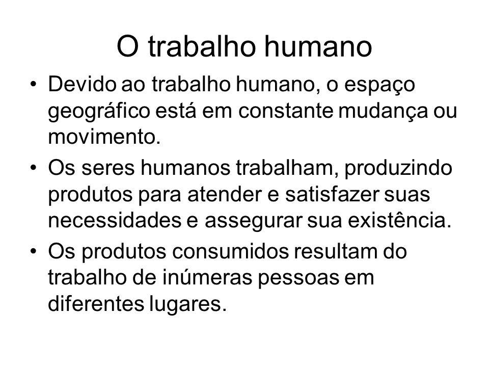 O trabalho humanoDevido ao trabalho humano, o espaço geográfico está em constante mudança ou movimento.