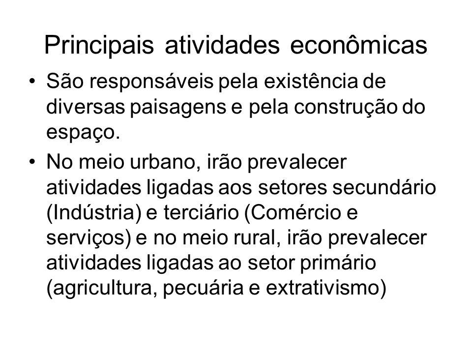 Principais atividades econômicas