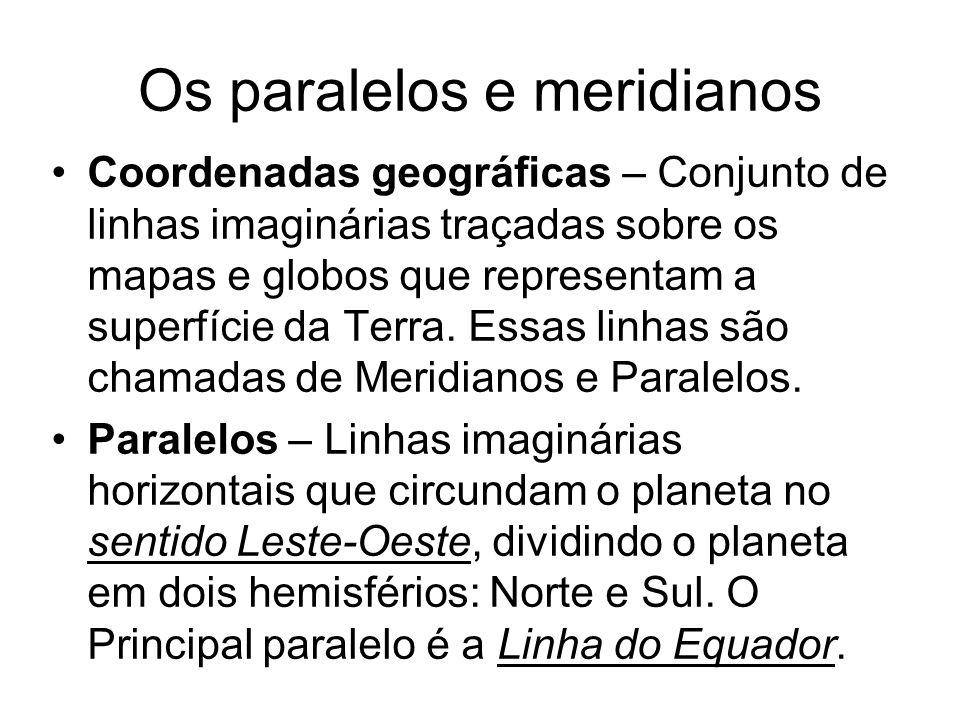 Os paralelos e meridianos
