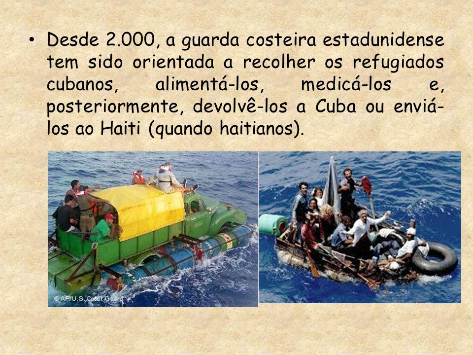 Desde 2.000, a guarda costeira estadunidense tem sido orientada a recolher os refugiados cubanos, alimentá-los, medicá-los e, posteriormente, devolvê-los a Cuba ou enviá-los ao Haiti (quando haitianos).