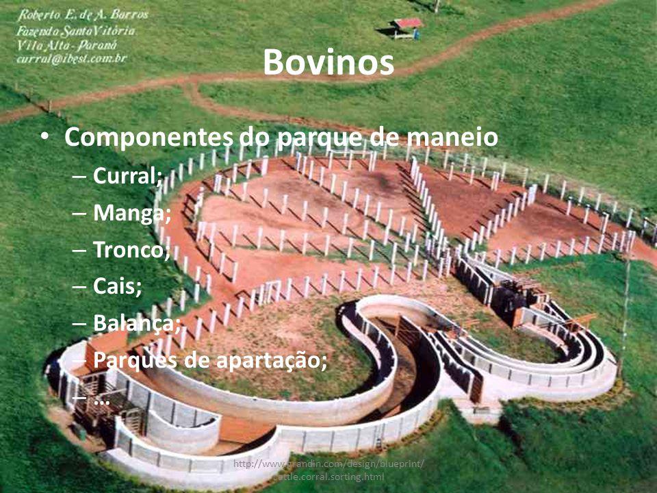 Bovinos Componentes do parque de maneio Curral; Manga; Tronco; Cais;