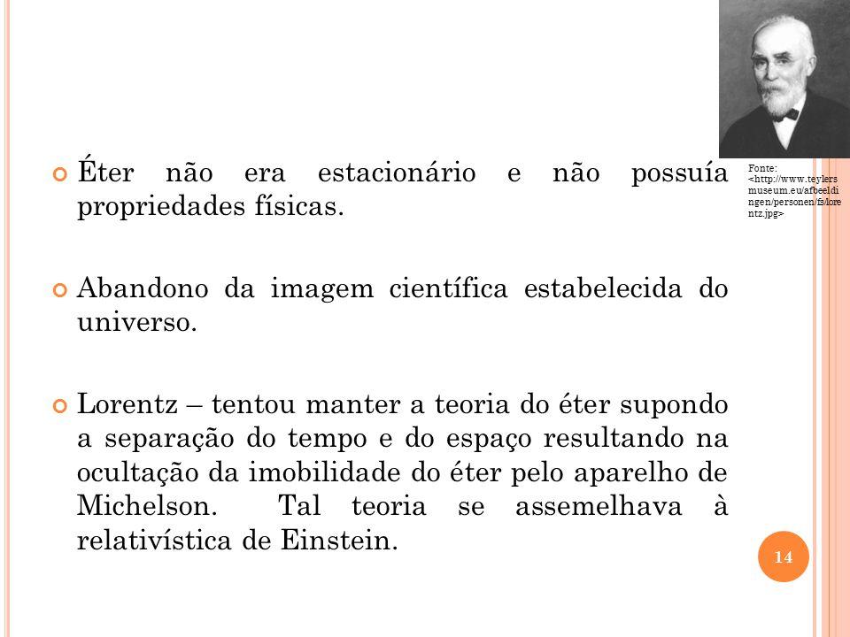 Éter não era estacionário e não possuía propriedades físicas.